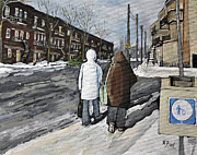 Quebec Streets Painting Posters - Walking on the Avenues Poster by Reb Frost