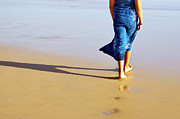 Beautiful Foot Prints - Walking on the beach Print by Carlos Caetano