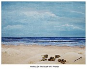 Flip-flops Paintings - Walking On The Beach With Friends by Debbie Broadway