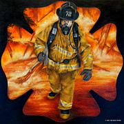 Fireman Drawings Posters - Walking Out Poster by Jodi Monroe