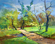 Oil On Canvas Drawings - Walking path in the park by Alexander Maslik