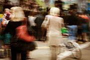 Crowd Scene Art - Walking People In Motion Blur by Alexey Klementiev