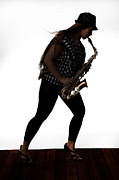 Band Photos - Walking Saxophone Musician 2023.1 by M K  Miller