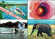 Artist Trading Cards Art - Walking Stick Time Tunnel Flat Bottom Boat Pachyderm by Buddy Paul