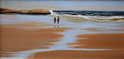Low Tide Paintings - Walking The Beach by Frank Wilson