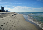 Panama City Beach Fl Prints - Walking the Beach Print by Sandy Keeton