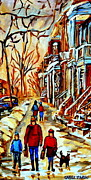 Verdun Montreal Winter Street Scenes Montreal Art Carole Spandau Paintings - Walking The Dog By Balconville Winter Street Scenes Art Of Montreal City Paintings Carole Spandau by Carole Spandau
