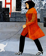 Dog Walking Mixed Media Posters - Walking the Dog in San Francisco Poster by Belinda Lima