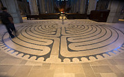 Haring Framed Prints - Walking the Labyrinth at Grace Cathedral Framed Print by David Bearden