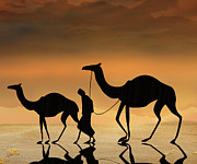 Bedros Awak Framed Prints - Walking The Sahara Framed Print by Bedros Awak