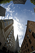 Tall Buildings Digital Art Originals - walking the streets of San Francisco from the ground up by Sarah Kramer
