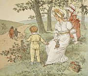Walking To Mouseys Hall Print by Randolph Caldecott