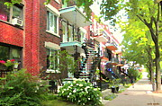 Staircase Paintings - Walking Verdun In Summer Winding Staircases And Pathways Urban Montreal City Scenes Carole Spandau by Carole Spandau