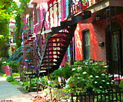 Quebec Paintings - Walking Verdun Spiral Staircases Graceful Circular Steps Montreal Colorful Scenes Carole Spandau  by Carole Spandau