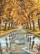 Autumn Trees Metal Prints - Walking Metal Print by Veronica Minozzi