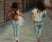 Boots Pastels Posters - Walking with Attitude Poster by Marion Derrett