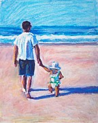 Daughter Pastels Posters - Walking with Daddy Poster by Bethany Bryant