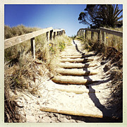 Wooden Stairs Metal Prints - Walkway Metal Print by Les Cunliffe