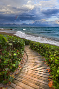 Sunset Scenes. Prints - Walkway to the Beach Print by Debra and Dave Vanderlaan