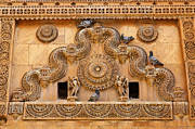 Rajasthan Prints - Wall decoration inside Jailsalmer Fort in Rajasthan India Print by Robert Preston