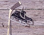 Antique Skates Painting Prints - Wall of Fame Print by Richard De Wolfe