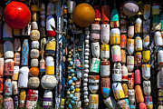 Buoys Photos - Wall of fishing buoys by Garry Gay