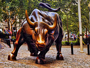 Icon Metal Prints - Wall Street Bull Metal Print by David Smith