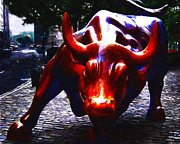 Bulls Metal Prints - Wall Street Bull - Painterly Metal Print by Wingsdomain Art and Photography