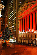 Christmas Holiday Scenery Art - Wall Street Christmas by James Kirkikis