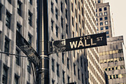 Business-travel Framed Prints - Wall Street Sign Framed Print by Garry Gay