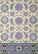 Purple Flowers Drawings - Wall tiles from the Palace of Ismayl Bey from Arab Art as Seen Through the Monuments of Cairo  by Emile Prisse d Avennes