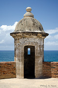 Castillo San Cristobal Posters - Wall Watchtower Poster by Wendy M Hansen-Penman