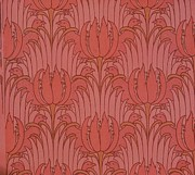 Red Tapestries - Textiles Posters - Wallpaper Design Poster by Victorian Voysey