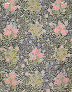 Light Pink Prints - Wallpaper design with Tulips Daisies and Honeysuckle  Print by William Morris