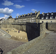 The Houses Photo Framed Prints - Walls of Saint Malo. Bretagne. Brittany. France. Europe Framed Print by Bernard Jaubert