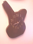 Clock Pyrography Framed Prints - Walnut guitar clock Framed Print by Sam Bowen