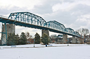 Riverwalk Posters - Walnut Street Bridge in the Snow Poster by Tom and Pat Cory