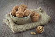 Wooden Bowl Photos - Walnuts by Sabino Parente
