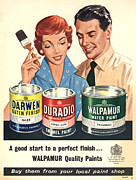 Couples Drawings Posters - Walpamur 1950s Uk Painting Paint Poster by The Advertising Archives