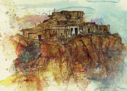 Hopi Indian Paintings - Walpi Village First Mesa  Hopi Reservation by Elaine Elliott