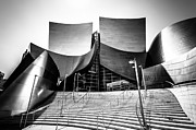 Downtown Stairs Metal Prints - Walt Disney Concert Hall in Black and White Metal Print by Paul Velgos
