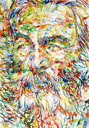 Walt Whitman Metal Prints - WALT WHITMAN watercolor portrait.1 Metal Print by Fabrizio Cassetta