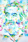 Walt Whitman Metal Prints - WALT WHITMAN watercolor portrait.2 Metal Print by Fabrizio Cassetta