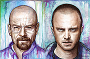 Watercolor Mixed Media Framed Prints - Walter and Jesse - Breaking Bad Framed Print by Olga Shvartsur