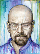 Celebrities Mixed Media Metal Prints - Walter White - Breaking Bad Metal Print by Olga Shvartsur