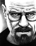White Drawings Posters - Walter White Breaking Bad Poster by Rick Fortson