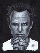 Charcoal Portrait Posters - Walton Goggins Poster by Rosalinda Markle
