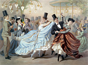 Couples Drawings Posters - Waltz at the Bal Mabille Avenue Montaigne Paris Poster by Charles Vernier