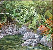 Overhanging Paintings - Wandering Waters by Val Stokes