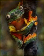 Tree Frog Pastels Prints - Wanna Hang Print by Shelley Wheeler